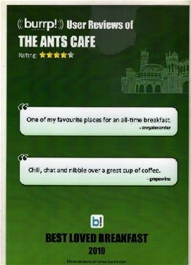 Customer award for The Ants Café