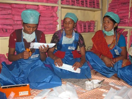 Co-operation between UNICEF and Women on Wings in sanitary napkins business