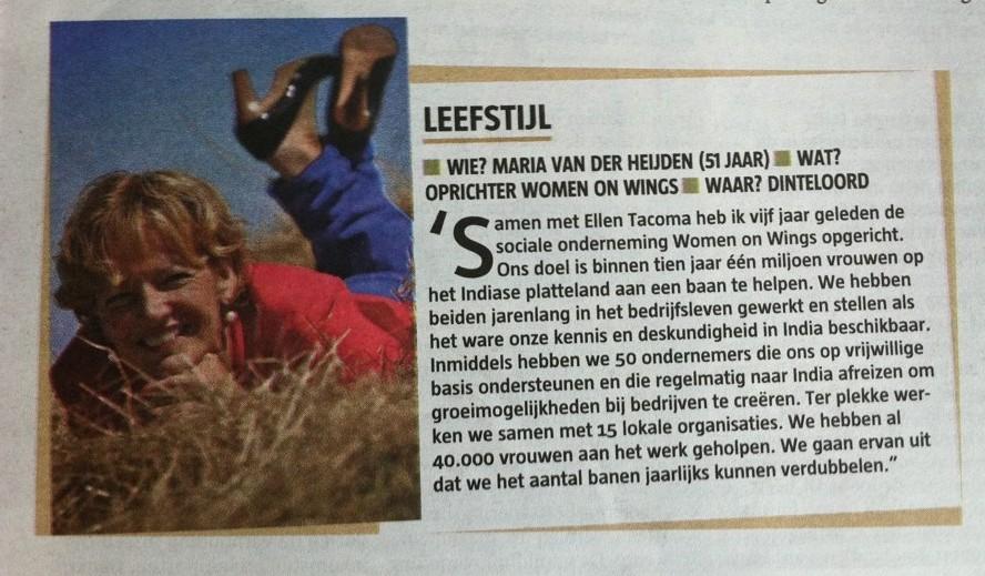 Telegraaf LEEFSTIJL: Maria van der Heijden