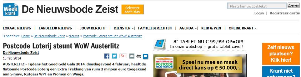 Nieuwsbode Zeist: Postcode Loterij steunt WoW Austerlitz