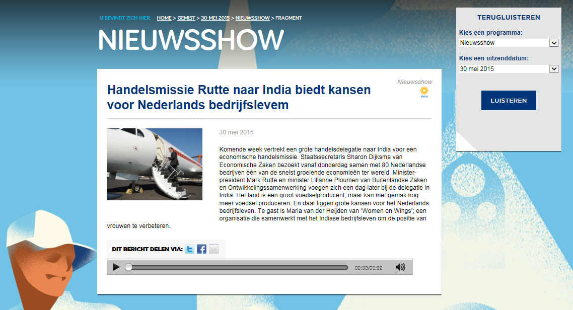 Radio interview about participation in Trade Mission to India headed by Rutte