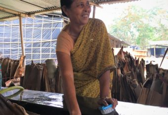 Dhanada Kahta finds joy and income in washing sheaths