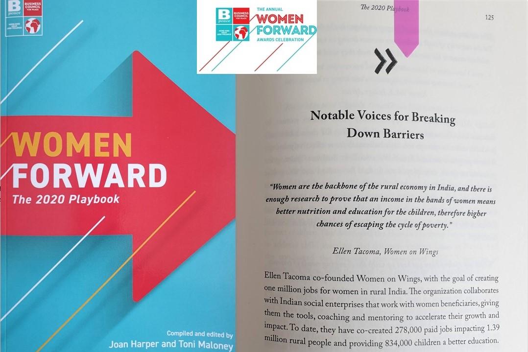 Women on Wings' co-founder Ellen Tacoma in BPeace Women Forward 2020 playbook